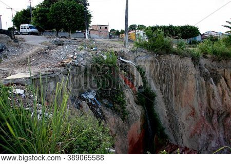 Eunapolis, Bahia / Brazil - April 1, 2008: View Of Landslide Area Near Houses In The City Of Eunapol