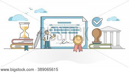 Certificate Document As Award Or Diploma About Skill Or Knowledge Achievement Outline Concept. Legal