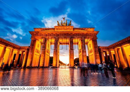 Fascinating Brandenburg Gate illuminated by evening lights
