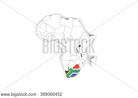 Africa 3d Map With Borders Marked - South Africa Area Marked With South Africa Flag - Isolated On Wh