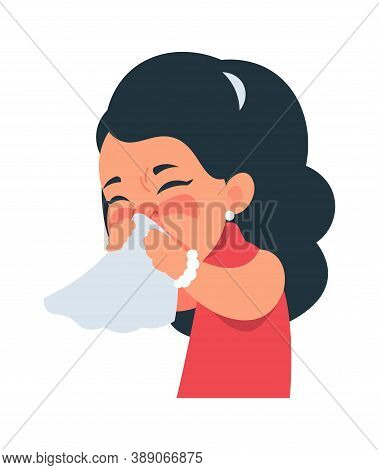 Sneezing Girl. Cartoon Character Coughing And Catching Flu. Cute Kid Blows Nose Into Handkerchief. R