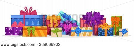 Gift Boxes. Christmas Present And Birthday Gift With Decorative Bows, Ribbons. Bright Colors Volume