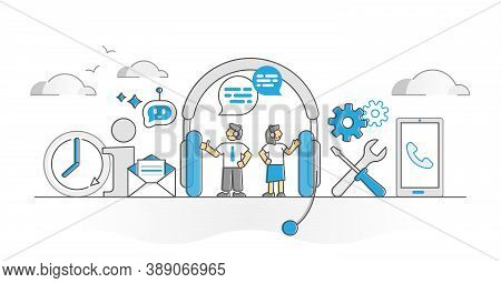Client Support Call As Customer Consultant Helpline Monocolor Outline Concept. Technical Assistance