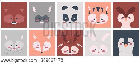 Animal Faces. Cartoon Square Shapes With Cute Baby Animalistic Faces, Raccoon Fox Rabbit Deer Bear A