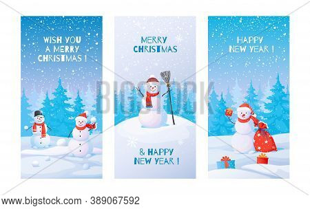 Winter Posters. Snowman With Snowdrifts. Cute Winter Landscape With Christmas And New Year Greeting
