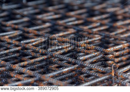 Steel Mesh For Construction Steel Rebars For Reinforced Concrete. Steel Reinforcement Bar Texture In