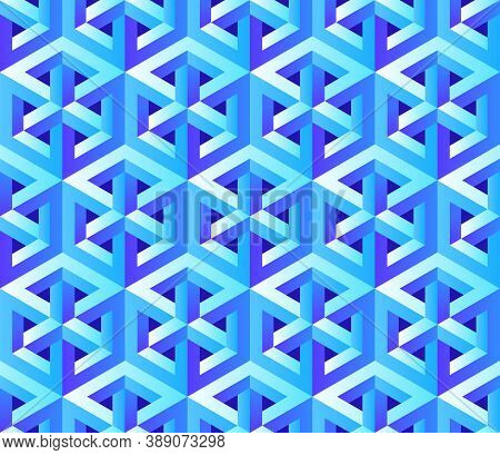 Vector Seamless Pattern With Unreal Optical Illusion. Hexagon Illustration, Isometric Drawing