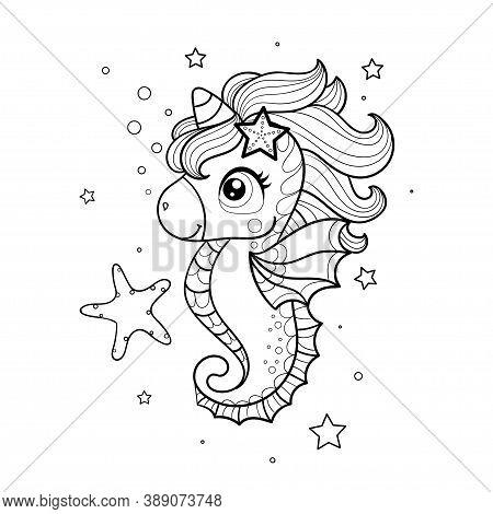Cute, Cartoon Seahorse Unicorn. Black And White. Childrens Vector Illustration