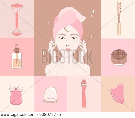 Woman Face Silhouette With Cosmetics Gadgets Around.excellent Female Skin With A Facial Roller, Mass