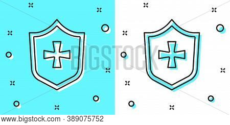 Black Line Shield Icon Isolated On Green And White Background. Guard Sign. Security, Safety, Protect