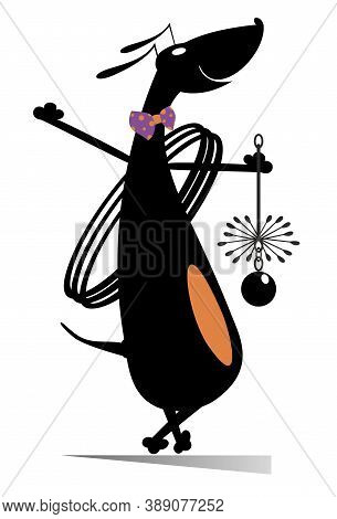 Dog A Chimney Sweeper Illustration. Smiling Cartoon Dachshund A Chimney Sweeper Holds A Brash Cleane