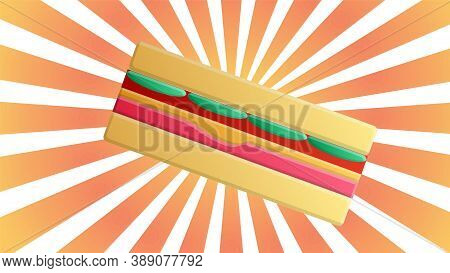 Appetizing, Delicious Sandwich, Vector Illustration. Sandwich On A Bright, Orange Background In Retr