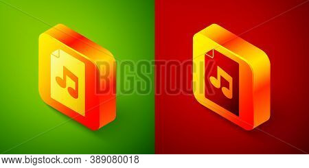 Isometric Music Book With Note Icon Isolated On Green And Red Background. Music Sheet With Note Stav