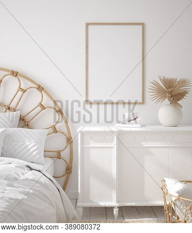 Mockup Frame In Coastal Boho Style Bedroom Interior, 3d Illustration