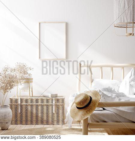 Mockup Frame In Farmhouse Bedroom Interior Background, 3d Illustration