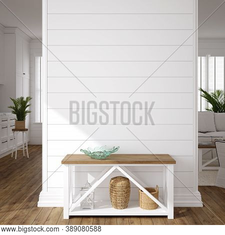 Hampton Style Living Room Interior, Wall Mockup, 3d Illustration
