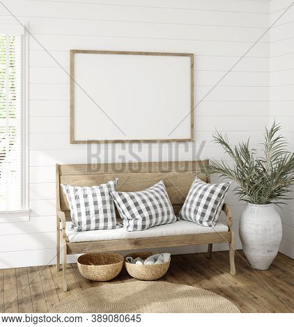 Frame Mockup In Farmhouse Living Room Interior, 3d Illustration