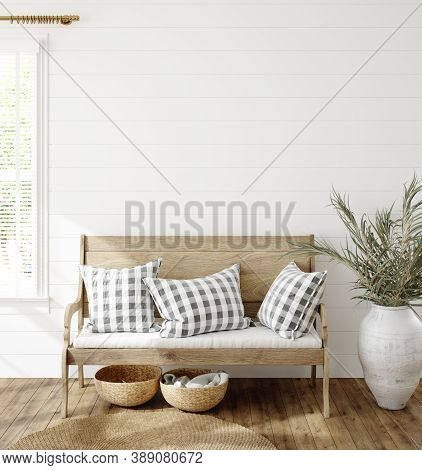 Mockup In Farmhouse Interior Background, 3d Illustration