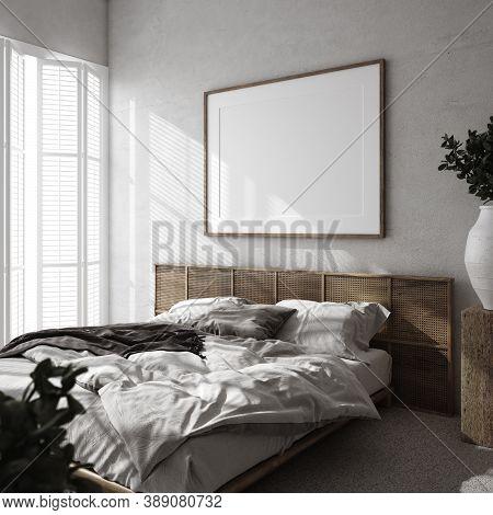Mockup Frame In Luxury Bedroom Interior, Loft Style, 3d Illustration