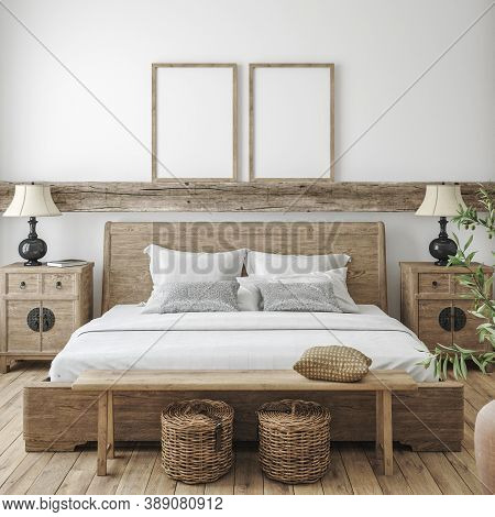 Mockup Frame In Bedroom Interior Background, Farmhouse Style, 3d Illustration