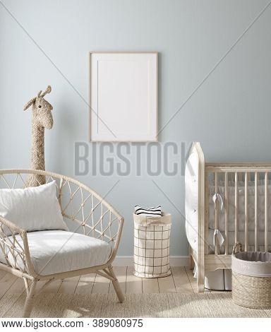 Mock Up Frame In Boy Nursery With Natural Wooden Furniture, 3d Illustration