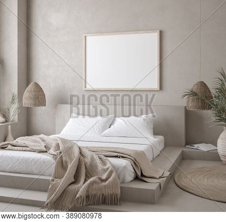 Mockup Poster In Nomadic Style Bedroom Interior, 3d Illustration
