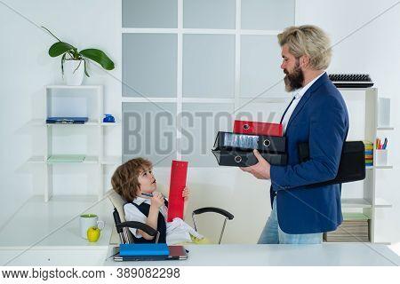 Little Boss. Colleagues Brainstorming In Talk. Little Businessman Bossy Child Working In Office. Fun
