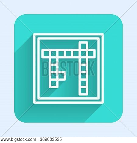 White Line Bingo Icon Isolated With Long Shadow. Lottery Tickets For American Bingo Game. Green Squa