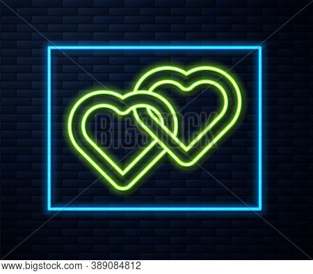Glowing Neon Line Two Linked Hearts Icon Isolated On Brick Wall Background. Romantic Symbol Linked,