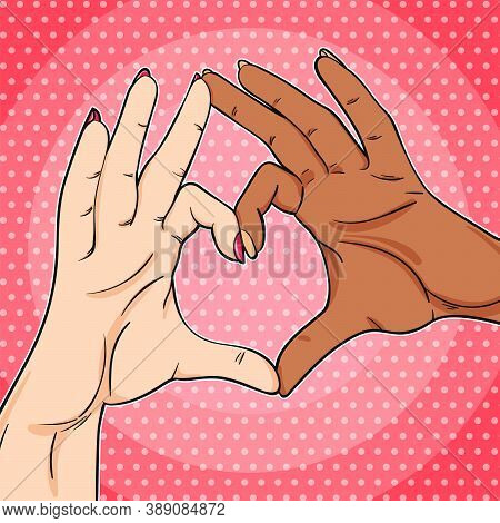 Black And White Hands Showing Heart Sign Pop Art Illustration In Retro Comics Style, Love Have No Co