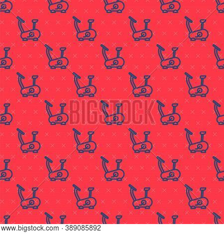 Blue Line Stationary Bicycle Icon Isolated Seamless Pattern On Red Background. Exercise Bike. Vector
