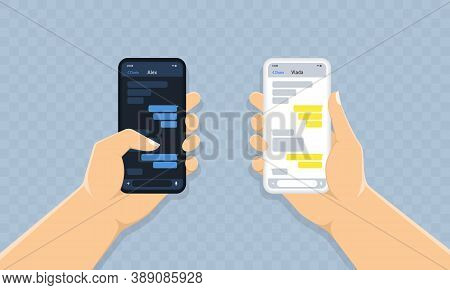 New Chat Messages Notification On Mobile Phone. Chat App Social Network Template In Dark And Light T