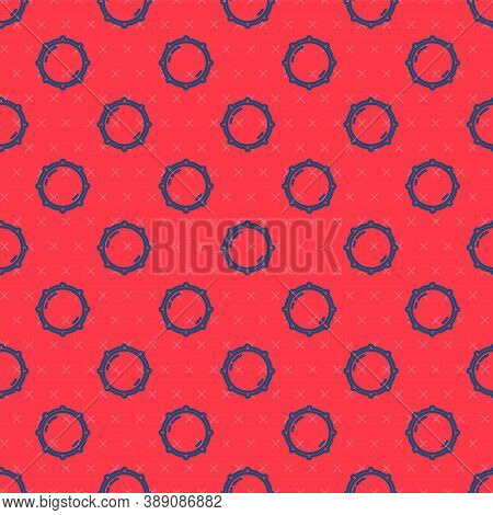 Blue Line Dial Knob Level Technology Settings Icon Isolated Seamless Pattern On Red Background. Volu