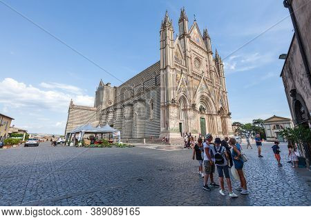 Orvieto, Italy. August 19, 2020: Orvieto Cathedral, Famous Christian Cathedral Visited By Many Touri