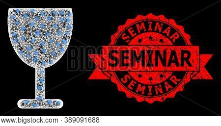 Bright Mesh Polygonal Wine Cup With Light Spots, And Seminar Grunge Ribbon Seal Print. Red Seal Has