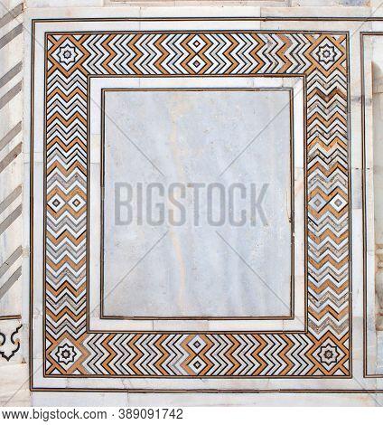 Detail Of Marble Surface With Inlay In Taj Mahal, Agra, Uttar Pradesh, India