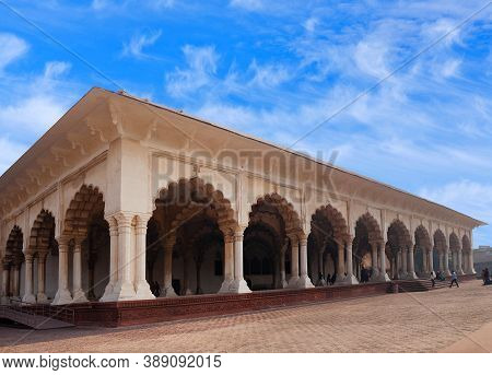Agra, India - January 2, 2020: Diwan-i-am, Hall Of Public Audience In Red Fort Of Agra. It Was The M
