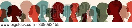 Diversity Multiethnic People. Group Side Silhouette Men And Women Of Different Culture And Different