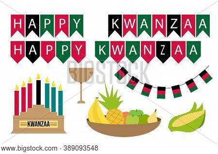 Set Happy Kwanzaa. Fruit Bowl - Bananas, Pineapple, Apples, Orange, Pear. Corn. A Bowl Of Abundance.