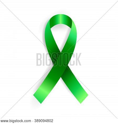 Realistic Vector Illustration Of Green Ribbon Awareness Symbol. Organ Donation, Liver Cancer, Mental