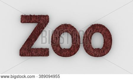 Zoo - 3d Word Red On White Background. Render Furry Letters. Wild Zoo Animals, Animal At Safari Park