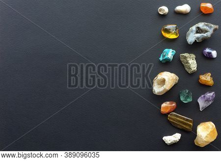 Mockup With Gemstones For Invitations To Therapeutic Massage With Minerals And Massage With Chilled