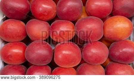 Red Apricots Top View. Juicy Background Of Ripe Apricots With Copy Space. Apricot Counter In A Super