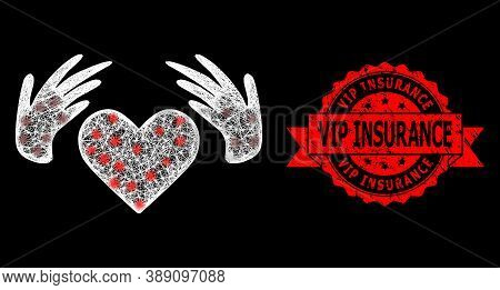 Shiny Mesh Web Handmade Love With Glowing Spots, And Vip Insurance Grunge Ribbon Stamp Seal. Red Sta