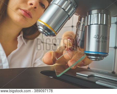 A young woman laboratory assistant examines a tissue sample. A brain tissue biopsy is a procedure to remove a sample of abnormal tissuemicroscope