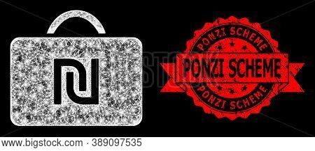 Glare Mesh Polygonal Shekel Case With Light Spots, And Ponzi Scheme Textured Ribbon Seal Print. Red