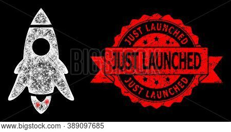 Glowing Mesh Net Rocket Start With Light Spots, And Just Launched Dirty Ribbon Stamp. Red Stamp Cont