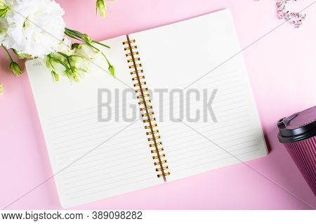 Top View Flat Lay Empty Note Book With Flowers. Mockup. Text Space. Women Flatly. Women's Day Flatla