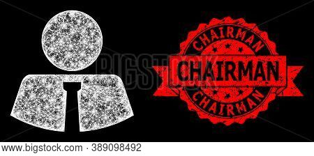 Bright Mesh Polygonal Mister With Glowing Spots, And Chairman Dirty Ribbon Stamp Seal. Red Stamp Sea