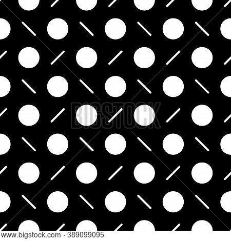 Circles, Diagonal Strokes Seamless Pattern. Dots, Dashes Print. Dot Shapes, Lines Ornament. Circular